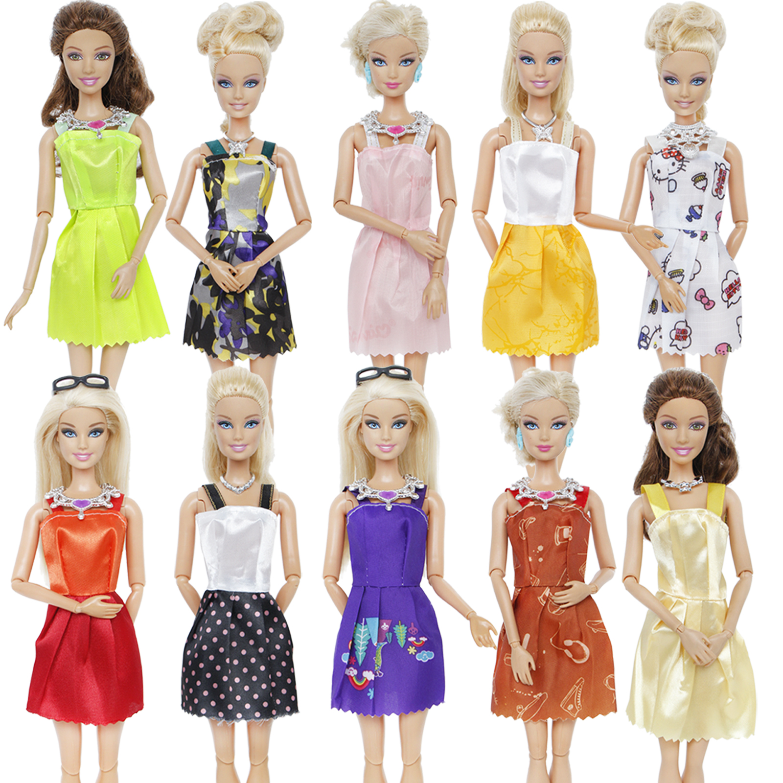Random 18 Pcs = 12x Mixed Style Mini Gown Party Dress + 6x Plastic Fashion Necklaces Skirt Accessories Clothes For Barbie Doll
