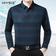 HIYSIZ Brand Sweater Male 2019 Casual Striped Turn-down Collar Long Sleeves Streetwear Autumn Winter Pullover For Mnen SW014