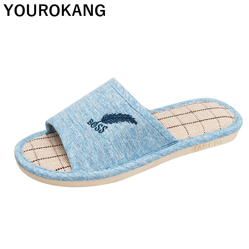 Men Slippers Spring Autumn Male Linen Home Shoes Indoor Room Floor Flip Flops Flax Slipper Breathable Feather Lovers Footwear