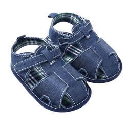 Летняя Удобная хлопковая детская обувь для маленьких мальчиков и девочек мягкая детская обувь синего цвета # E