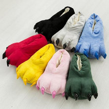 Winter Warm Soft indoor floor Slippers Women Men Shoes Paw Funny Animal Christmas Monster Dinosaur Claw Plush Home(China)