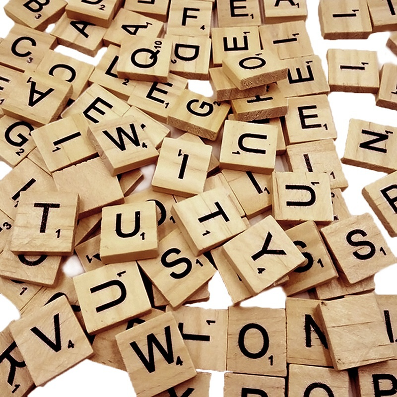 Newly 100 Pcs Wood Scrabble Tiles Letter Alphabet Scrabbles Number Craft English Words FIF66