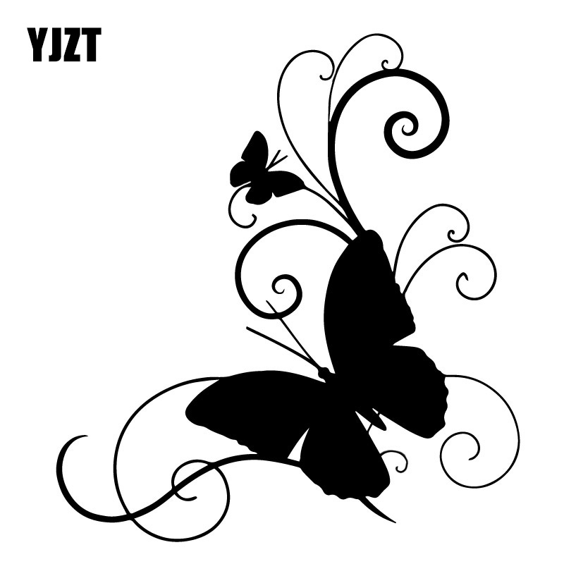 15.2cm*16.6cm Butterfly Personality Car-Styling Vinyl Stickers Decals Black/Silver S3-6072