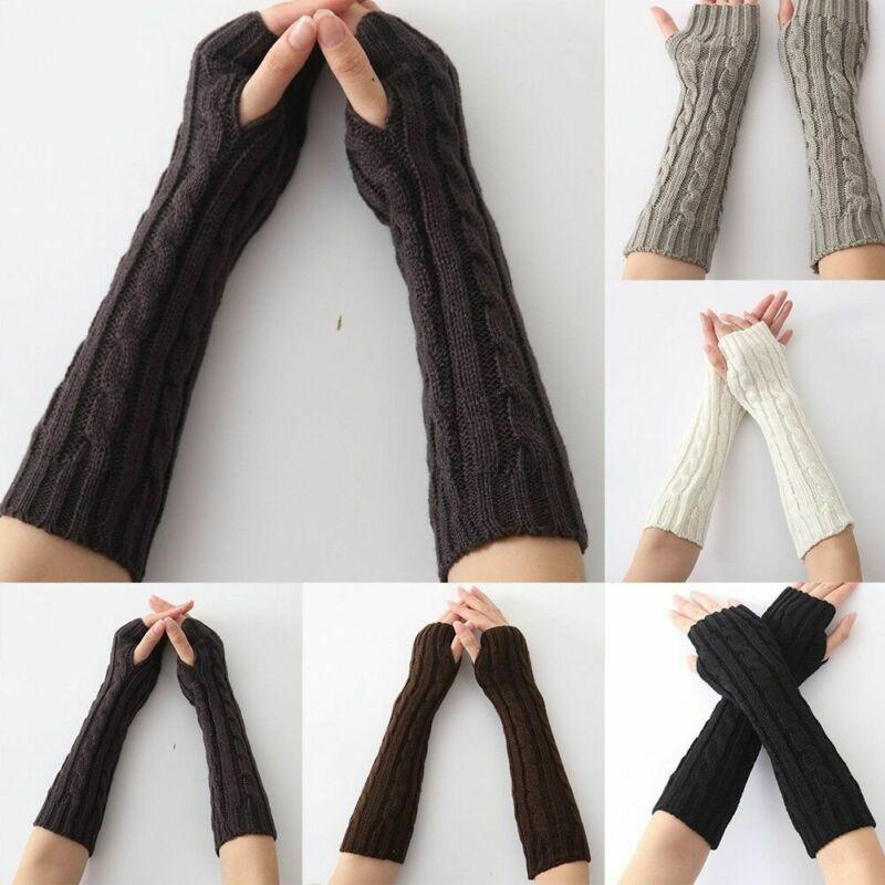Winter Fashion Women Warmer Mitten Winter Long Knitted Wrist Arm Hand Warmer Fingerless Gloves