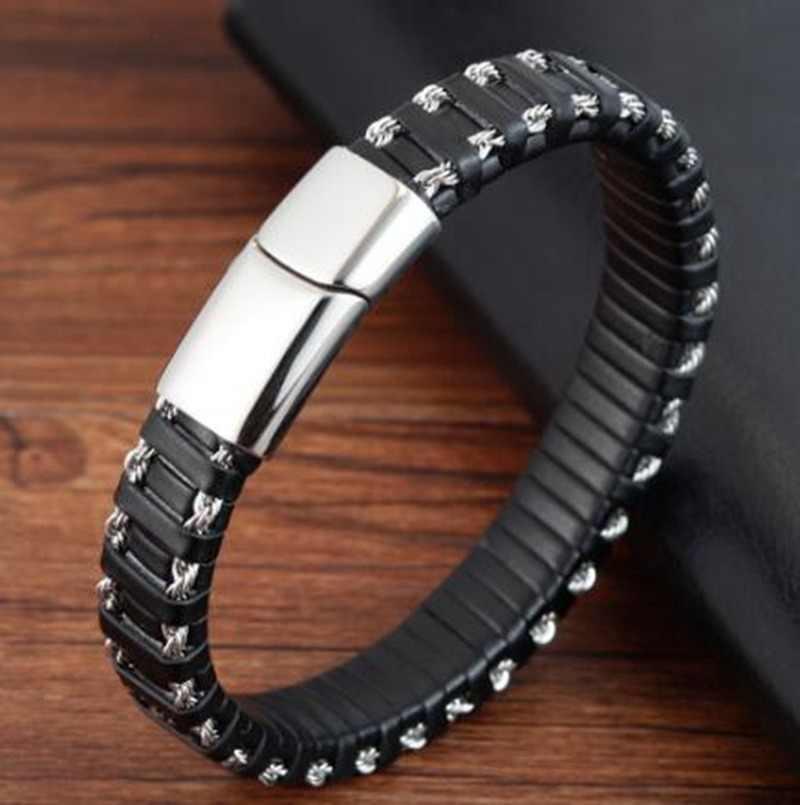 Классические туфли; Туфли в стиле панк из нержавеющей стали с магнитной пряжкой, кожаная браслет для мужчин браслеты с подвесками Стиль Коллекция подарков