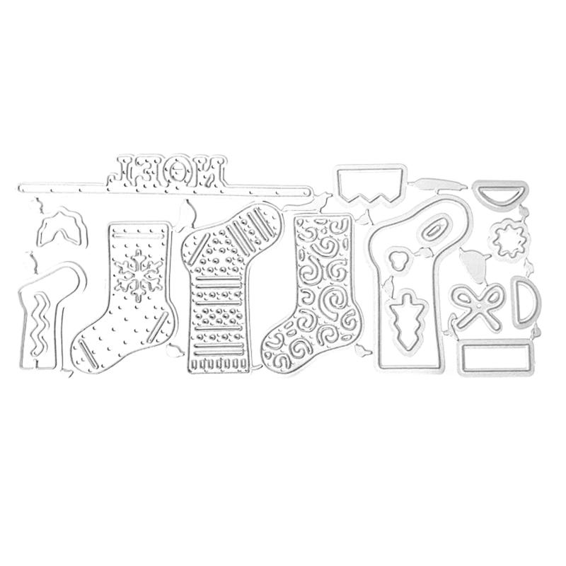 Christmas Socks Metal Cutting Dies Stencil Scrapbooking DIY Album Stamp Emboss Cutting Dies  - AliExpress