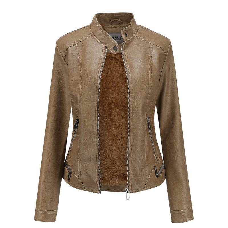 NXH vintage matte grey   leather   jacket women wool inner winter   suede   stand collar motor biker coat cool girl fashion