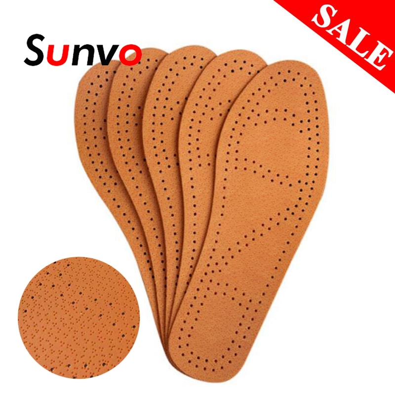Sunvo Leather Insoles For Men Business Shoes Instantly Absorb Sweat Breathable Deodorant Replacement Inner Shoe Insole Pad Sole