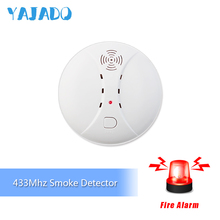 YAJADO Wireless Smoke Detector 433Mhz Fire Detector Independent Smoke Alarm For Home Security Alarm System Flash & Sounds Alarm high sensitive security system independent wireless smoke detector fire home garden safety alarm alert sensor with battery