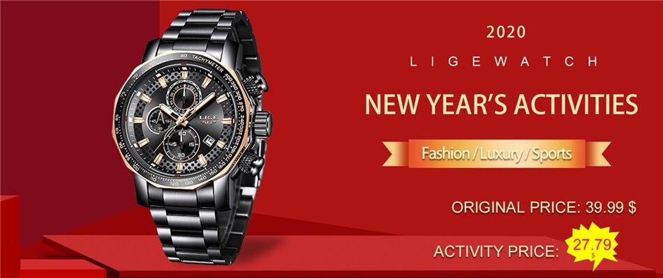 H9985eb9eaa16465a9d65292e2b1d61821 Relogio Masculino LIGE New Sport Chronograph Mens Watches Top Brand Luxury Full Steel Quartz Clock Waterproof Big Dial Watch Men