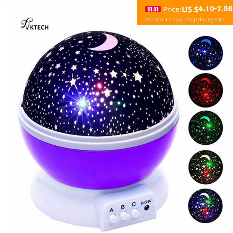 LED Rotating Night Light Projector Starry Sky Star Master Children Kids Sleep Romantic LED USB Projector Lamp Christmas Gifts-in Night Lights from Lights & Lighting