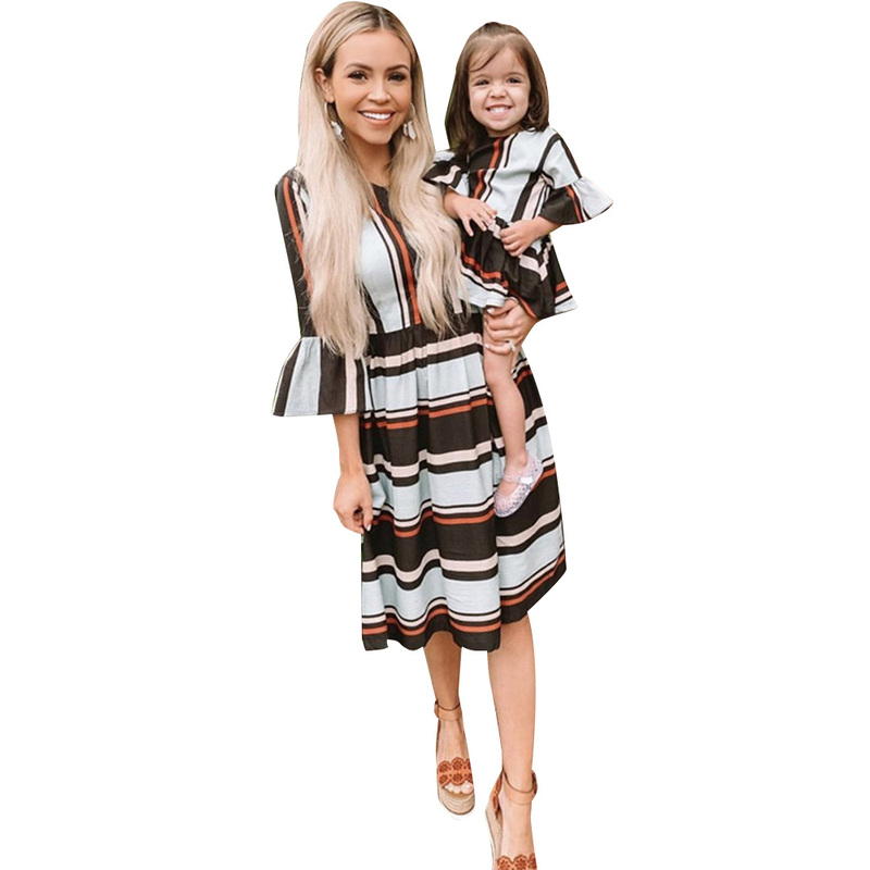 Family Look Mother Daughter Dresses Women and Girl Clothes Striped Print Fashion Seven Quarter Sleeve