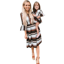 Family Look Mother Daughter Dresses Women and Girl Clothes Striped Print Fashion Seven Quarter Sleeve Mother Daughter Dresses