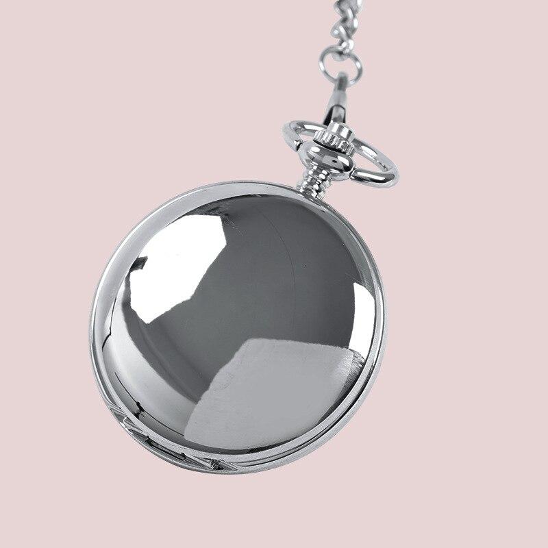 Relógio de Bolso Lisa e Brilhante Relógio de Bolso de Prata do Relógio de Bolso com Duas Cores para Escolher Colar Moda Retro Two-face Prata do com Duas de