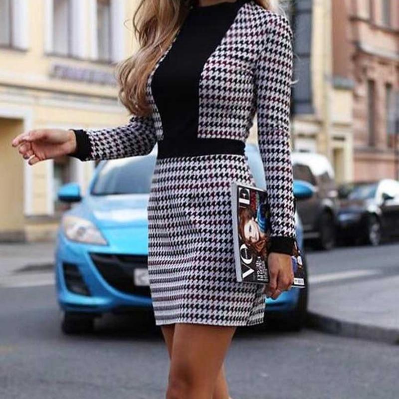 2019 frauen Sexy OL Langarm Kurzen Kleid Herbst Winter Vintage Houndstooth Print Dünne Büro Mini Kleider Frauen Party vestido