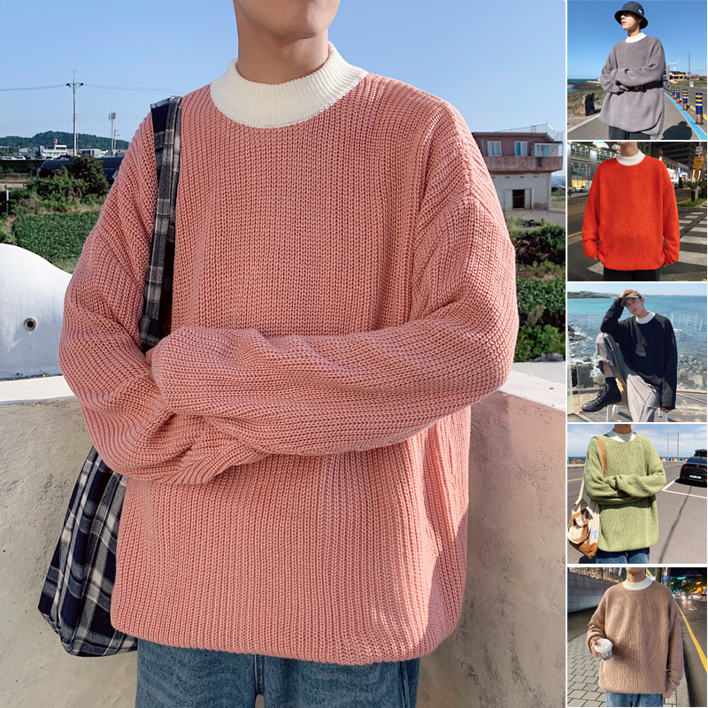 Winter Men's In Warm Cashmere Coats Clothes Loose Lazy Wind Knitting Mens Woolen Sweaters Brand Keep Warm 6 Color Pullover M-2XL