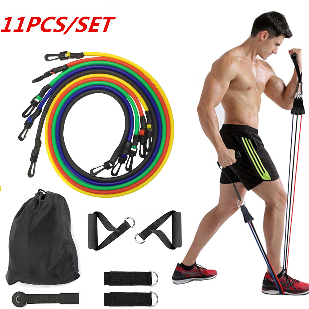 11pcs/set Pull Rope Fitness Exercises Resistance Bands Latex Tubes Pedal Excerciser Body Training Workout Yoga Rubber Loop Tube