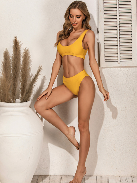 Qeils High Quality Bikini 2021 Women Solid Yellow Push Up High Waist Swimsuit Bathers Bathing Suit Padded Cut Out Swimwear 4