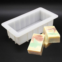 Silicone Soap Mold Rectangle 10Loaf Mould Flexible Cake Bread Toast Forms DIY Making Supplies