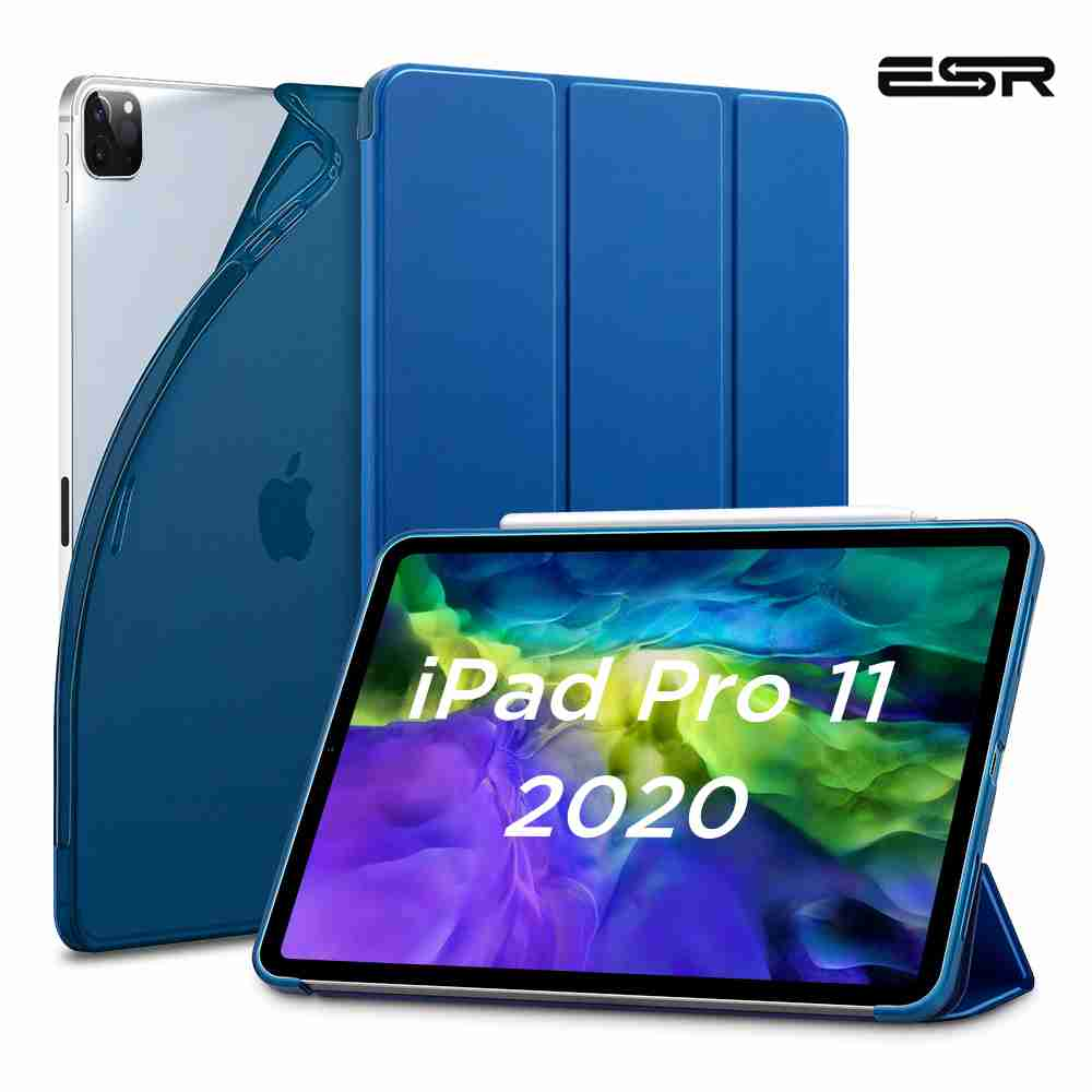 ESR iPad Case for 2020 iPad Pro 11'' 12.9'' Inch 2nd/4th Generation TPU Flexible Stand Auto Wake Sleep Smart Cover Case for iPad