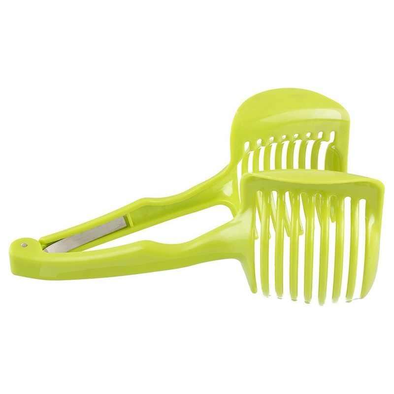 1pc frutas legumes slicer redondo tomate limão ovo titular cortador ferramenta cozinha verde