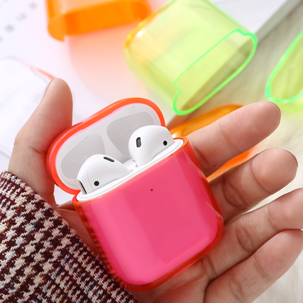 Shockproof Earphone Case Cover For Airpods 1 2 Colorful Transparent PC Cover Buckle For Apple Airpods 1 2 Hard Charging Hole Box