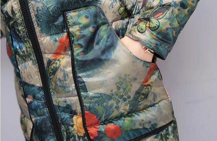 2019 New Winter Thin Cotton Coat Women's Mid-length Mom Coat Ethnic-Style Fashion Printed Cotton-padded Jacket Cotton-padded Clo