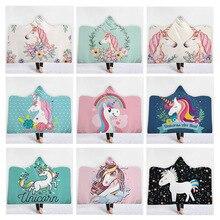 Unicorn Hooded Blanket 3D Printed Plush Cartoon Sherpa Fleece For Adult Kids Microfiber Warm Throw Home Sofa