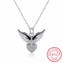 Lekani New Arrival Fashion Angel Wings Love Heart Shape 925 Sterling Silver Pendant Necklace Fine Jewelry Gift For Women(China)