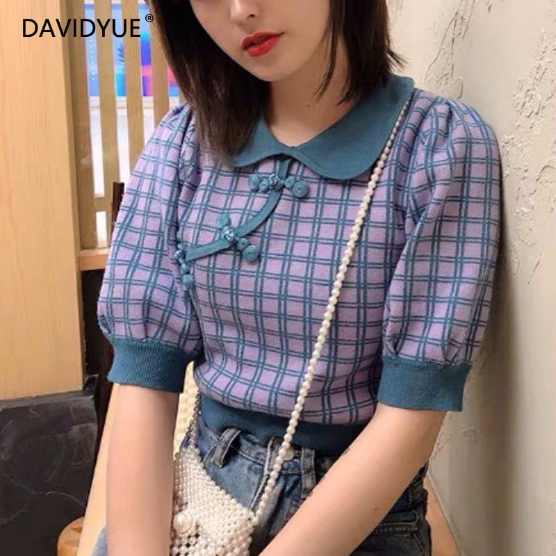 Knitted Sweater Women Korean Pullovers Vintage Sweater Fall 2019 Plaid Crop Sweater Turn-down Collar Christmas Sweater 2019