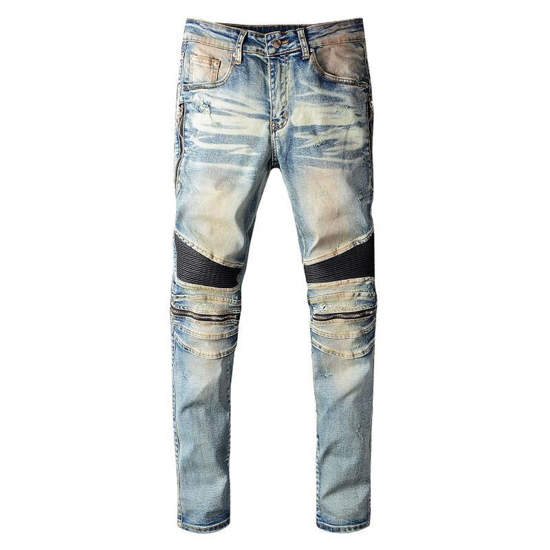 Sokotoo Men's PU Leather Patchwork Biker Jeans Zippers Retro Light Blue Stretch Denim Slim Pants
