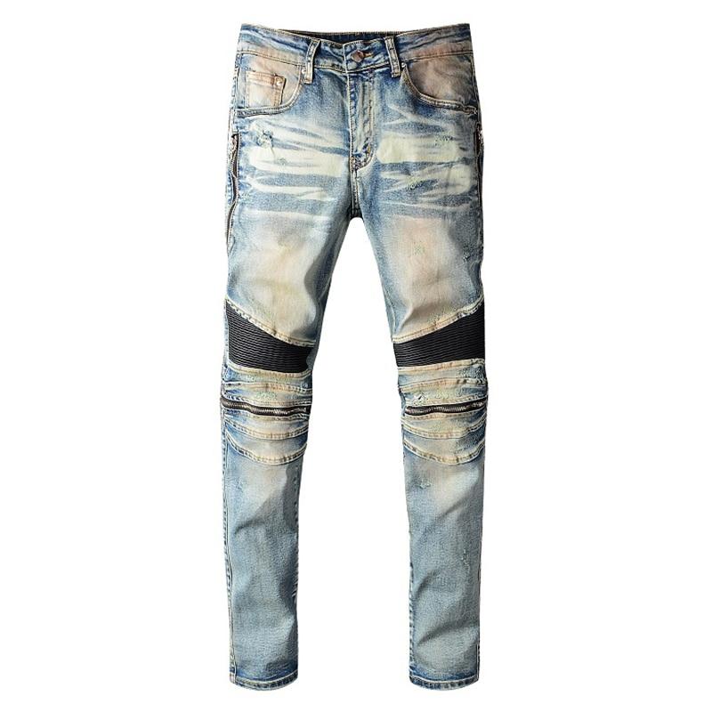 Sokotoo Men's PU Leather Patchwork Biker Jeans Zippers Retro Light Blue Stretch Denim Slim Pants