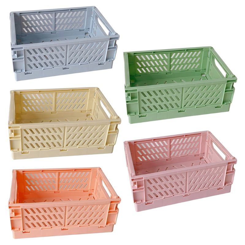 Collapsible Crate Plastic Folding Storage Box Basket Utility Cosmetic Container A9LC