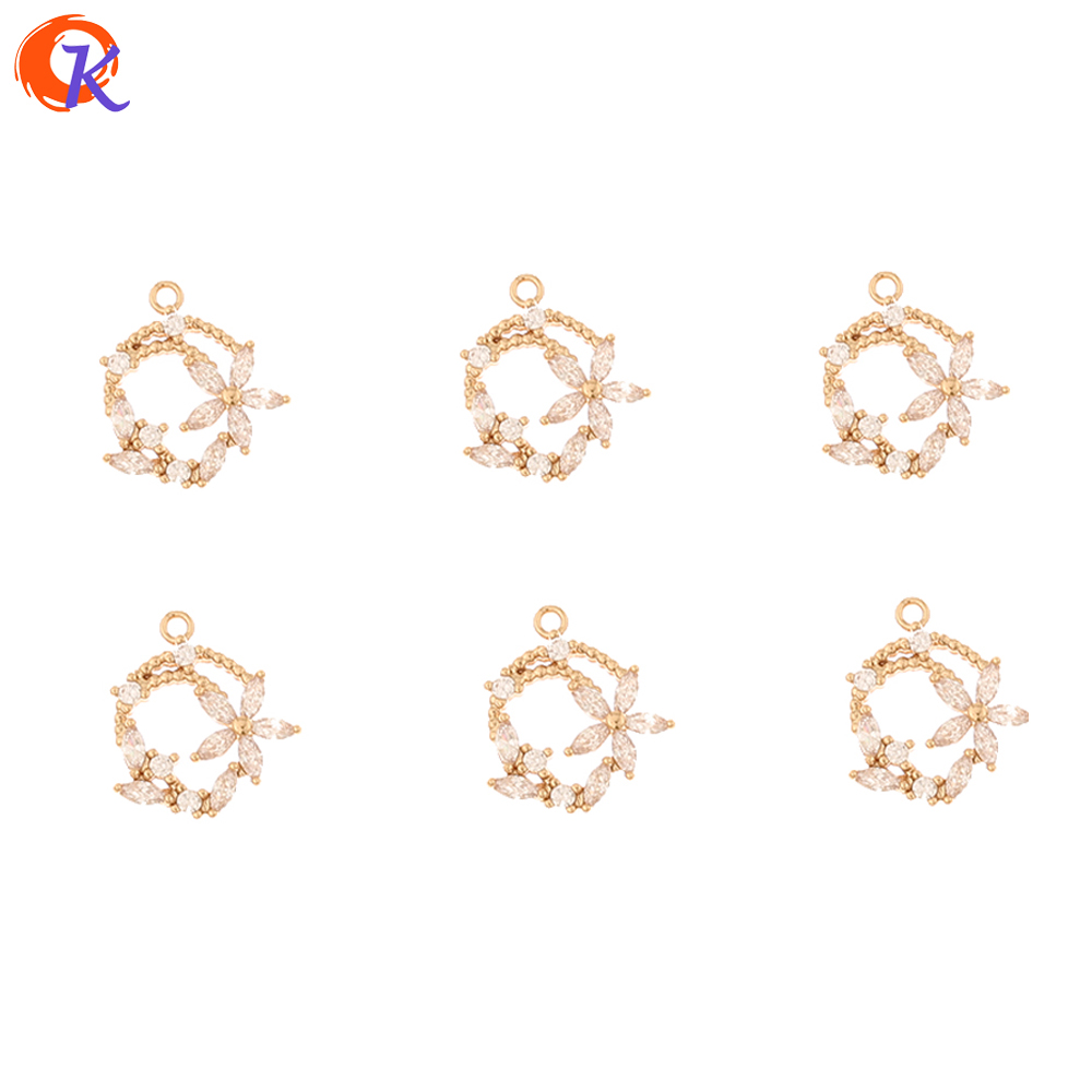 Cordial Design 50Pcs 12*13MM CZ Charms/Jewelry Accessories/Hand Made/Flower Shape/Earring Connectors/DIY Making/Earring Findings