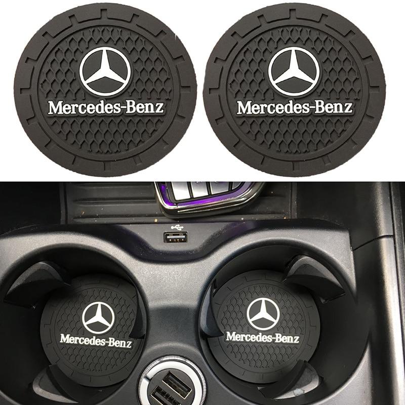 2 stücke Silikon Wasser bahn Auto nicht-slip coaster Matte Fall Für Mercedes benz AMG EINE B R G klasse GLK GLA C200 E200 Auto Zubehör