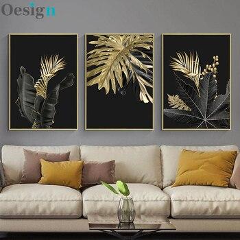 Hoja de planta dorada lienzo abstracto de pintura de arte cartel nórdico...