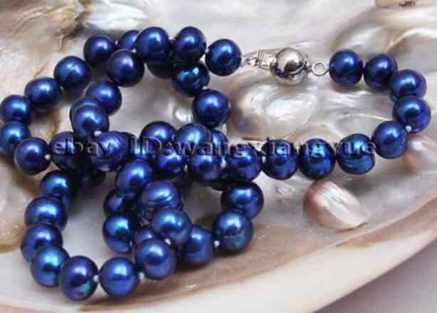 """Schmuck Perle Halskette Mode 8-9mm Echt Blau akoya-zuchtperlen halskette 17 """"Kostenloser Versand"""