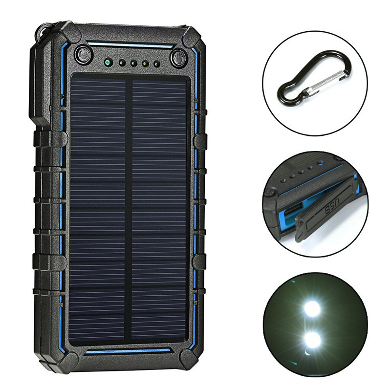 <font><b>15000mAh</b></font> Solar <font><b>Power</b></font> <font><b>Bank</b></font> USB Powerbank Portable External Battery Charger Pack For <font><b>Xiaomi</b></font> Mi 3 iPhone PoverBank with Flashlight image