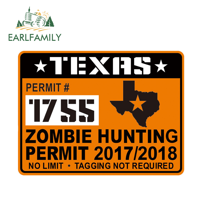 EARLFAMILY 13cm x 9.71cm Texas ZOMBIE Hunting Permit Hard Hat Creative Car Stickers JDM Decal Door Decor Creative Sticker