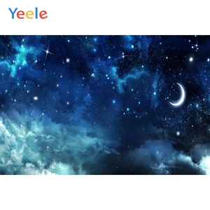 Starry Sky Night Moon Star Sky Cloud Dreamy Backdrop Newborn Baby Portrait Vinyl Photography Background Photo Studio Photophone