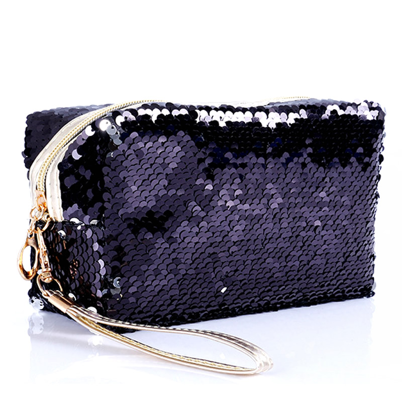 Fashion Sequin Glitter Portable Cosmetic Bag Organizer Holder Small Makeup Case Travel Storage Beauty Wash Zipper Women Girl Box