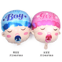 Birthday party arrangement of big head doll; male and female baby baby aluminium film balloons angel pacifier balloons moyra tarling the baby arrangement