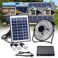 Solar Power Panel Charging DC USB LED Light Lamp Fan Kit For Home Outdoor Camping