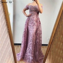 Prom-Dresses Dubai Off-Shoulder Short-Sleeve Crystal Sexy Pink Flowers Real-Photo-Bla70200