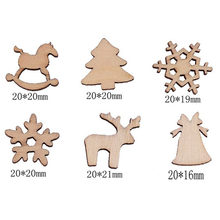 100Pcs DIY Craft Wood Chip Reindeer Snowflake Xmas Tree Ornaments Home Party Decor FO Sale(China)