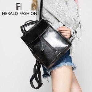 Image 1 - HERALD FASHION Genuine Leather Backpack Vintage Cow Split Leather Women Backpack Ladies Shoulder Bag School Bag for Teenage Girl