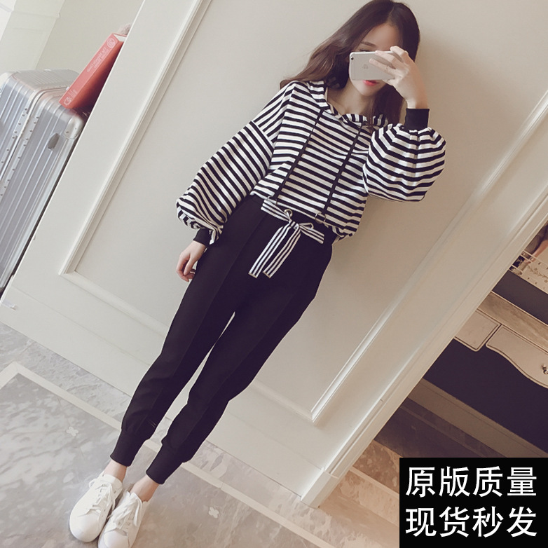 Spring Clothing New Style Stripes Sports Casual WOMEN'S Suit Hooded Students Hoodie Suit Two-Piece Set Fashion