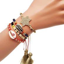 цена Go2boho Evil Eye Bracelets MIYUKI Tila Beads Bracelet Women Gold Shell Pulseras Mujer 2019 Star Tassel Summer Jewelry Handmade в интернет-магазинах