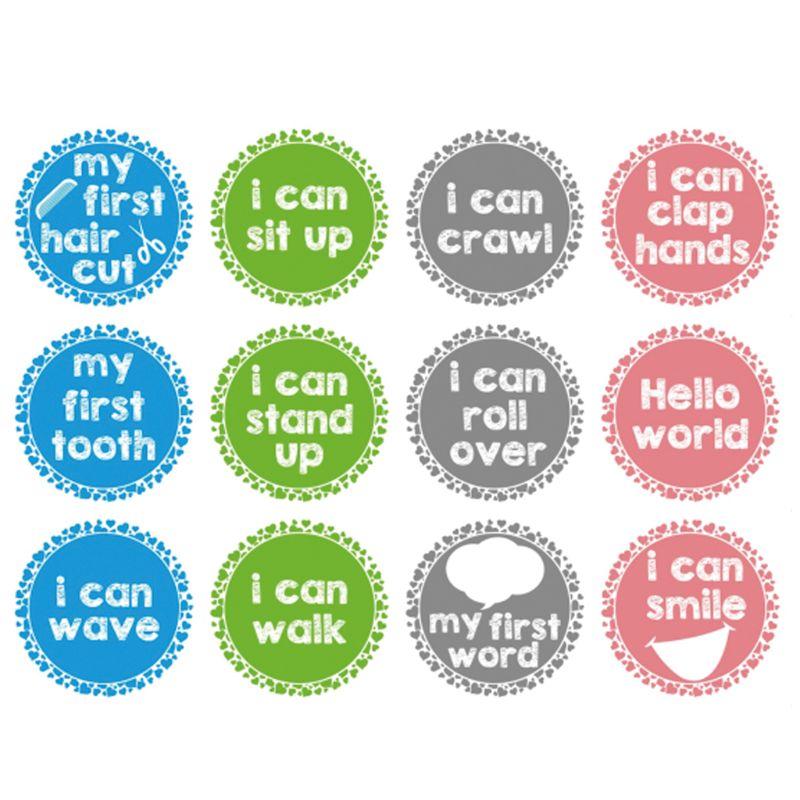 12PCS/Set Baby Month Sticker Newborn Photo Prop Stickers 1-12 Months Photo Stickers DIY Scrapbook Album Card Stickers