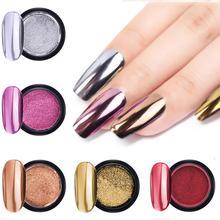 2 sztuk/zestaw paznokci lustro artystyczne Pigment w proszku paznokci sypki brokat do paznokci różowego złota błyszcząca chrom metaliczny dekoracji żel polski 1pc